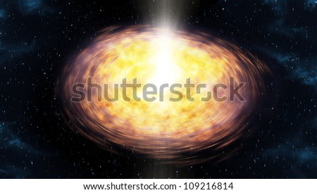 illustration showing the protoplanetary disc formation - stock photo