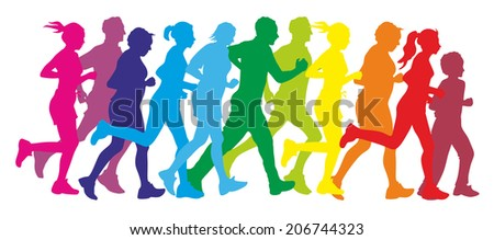 illustration showing the silhouette of some runners