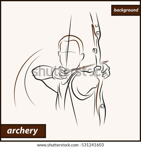 Illustration shows a archer aims at the target. Archery. Sport