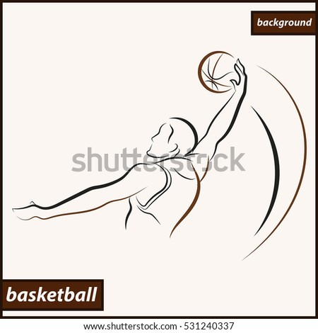 Illustration shows a basketball player throws a ball in a basket. Sport. Basketball