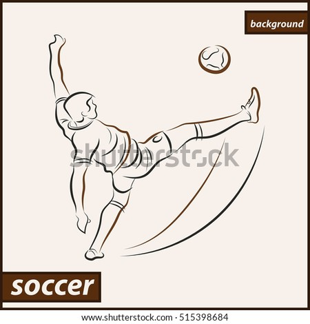 Illustration shows a football player kicks the ball. Soccer