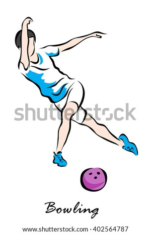 Illustration shows a player throwing ball. Bowling