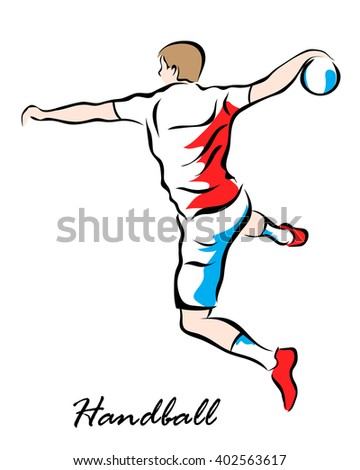 Illustration shows a player throws a ball in a jump. Handball