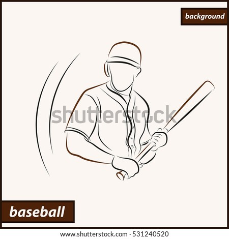 Illustration shows a player with a baseball bat. Sport. Baseball