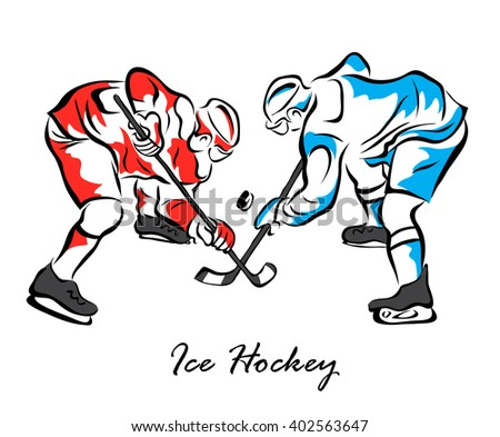 Illustration shows a two hockey players to face-off the puck. Ice Hockey