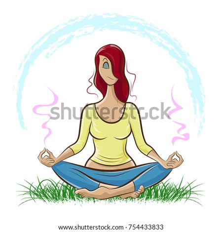 Illustration shows Beautiful red-haired girl doing yoga and meditating on the lawn