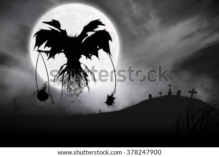Illustration - Silhouette of a Grim Reaper or fantasy evil spirit in a graveyard at night with a full moon. Good for background. Digital painting. - stock photo