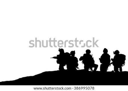 Illustration silhouette of military army personnel - stock photo