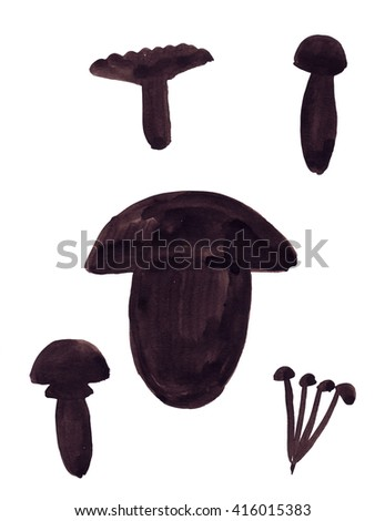 Illustration sketch silhouettes mushrooms of various shapes and types