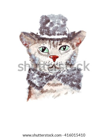 Illustration sketch vertical color portrait of a cat in a fluffy hat and scarf