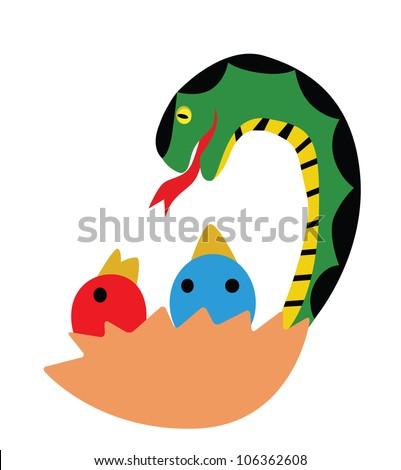 Illustration - Snake.Snake is eating chicks. - stock photo