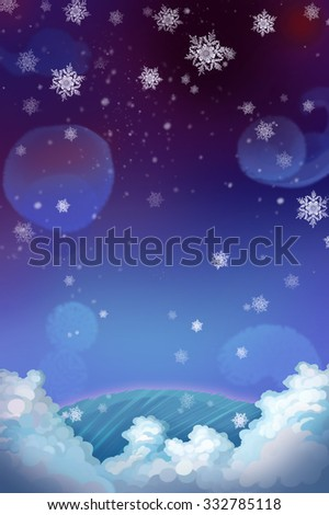 Illustration: Snowing Night! Realistic Cartoon Style Scene / Wallpaper / Background Design.  - stock photo