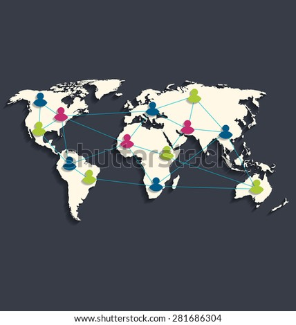 Illustration social connection on world map with people icons, flat style design with long shadow - raster