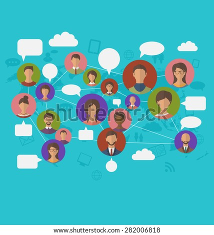 Illustration social connection on world map with people icons - raster