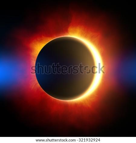 illustration solar eclipse. - stock photo