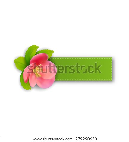 Illustration special spring offer sticker with flower, isolated on white background - raster - stock photo