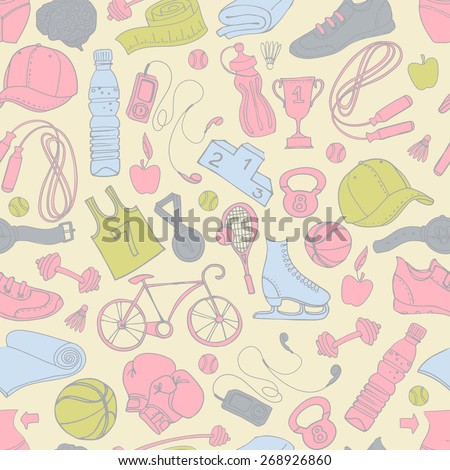 illustration Sport and fitness seamless doodle pattern