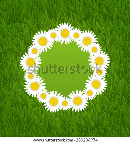 Illustration spring freshness card with grass and camomiles flowers - raster - stock photo
