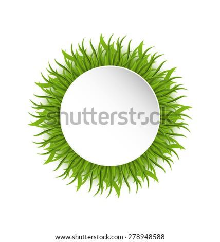 Illustration summer grass circle, go green concept - raster - stock photo