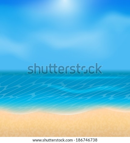 Illustration summer holiday background with sunlight - raster