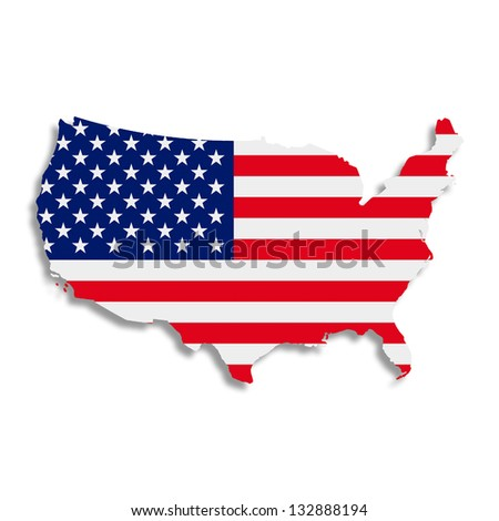 Illustration. The American flag in the form of a silhouette. - stock photo