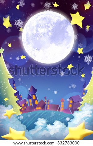 Illustration: The Beautiful Town in the Christmas Night! Wish Card Background. Realistic Cartoon Style Scene / Wallpaper / Background Design.  - stock photo