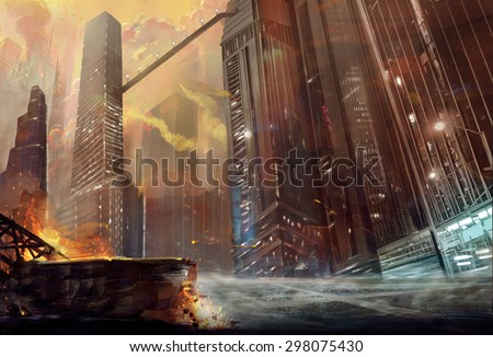 Illustration: The City after War. Realistic Style. Scene / Wallpaper Design. - stock photo
