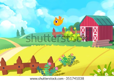 Illustration: The Cute Farm. Realistic Fantastic Cartoon Style Artwork / Story / Scene / Wallpaper / Background / Card Design