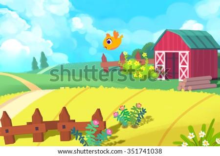 Illustration: The Cute Farm. Realistic Fantastic Cartoon Style Artwork / Story / Scene / Wallpaper / Background / Card Design  - stock photo