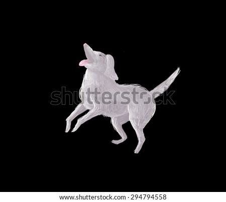 Illustration: The Dog of the Excited Adventure Boy in a black background. Fantastic Realistic Cartoon Style. Creature / Character Leading Role Design. - stock photo