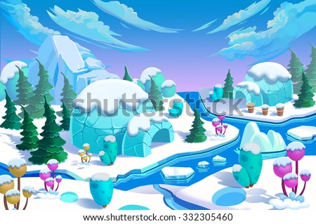 Illustration: The Eskimo Igloo Town. The Bridge, The Ice River, The Ice Mountain, The Ice Flowers, The Green Pine Trees. Realistic Cartoon Style Creative Scenery / Wallpaper / Background Design.  - stock photo