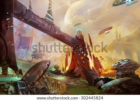 Illustration: The Future Earth - A Trash Planet - Occupied by Aliens and Robots. Removed the Huge Robot. Realistic Style. Sci-Fi Topic. Scene / Wallpaper / Background Design. - stock photo