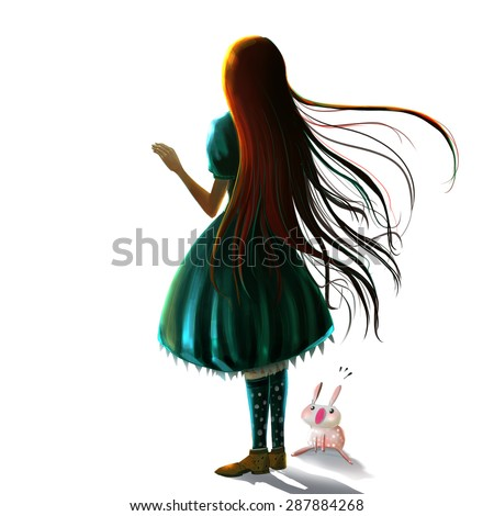 Illustration: The Girl - with her pet - Character Creation - Realistic/Fantastic Style - stock photo