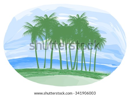 Illustration, the island and palm trees at the ocean.