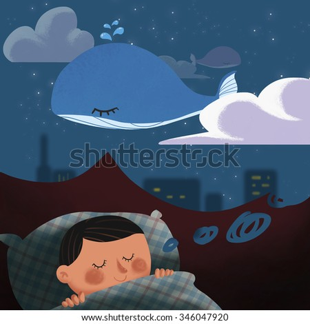Illustration: The Kid is in a Sweet Dream. Realistic Fantastic Cartoon Style Wallpaper / Scene / Background / Card Design.  - stock photo