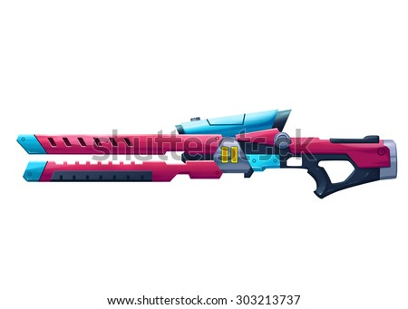 "Illustration: The Laser Shotgun - ""Double Tank"" - The Bounty Hunter's favorite weapon. Element Creation for a Fantastic Science Fiction World Called ""The Garbage Planet"". Cartoon / Sci-Fi Style"