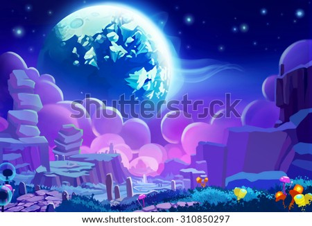 Illustration The Other Planets Environment Realistic Cartoon Style Sci Fi Scene