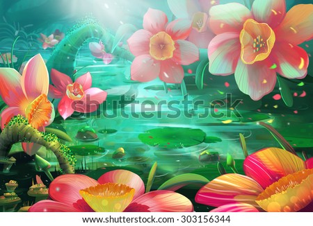 Illustration: The Peaceful Flower River where a Fairy visits often. Realistic / Cartoon Style. Fantasy Topic. Scene / Wallpaper / Background Design.  - stock photo