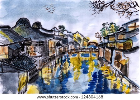 illustration The river village wuzhen - stock photo