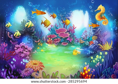 Illustration: The Secret Underwater Garden with Sea Horse and Fish. It's a lovely place for lovers or friends meet. - Scene Design - stock photo