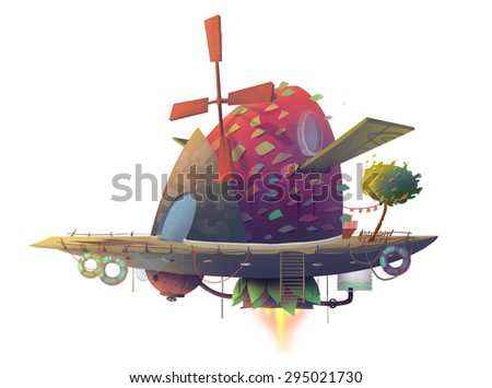 Illustration: The steampunk wooden airship in a white background. Fantastic Realistic Cartoon Style. Wallpaper Background Scene Design.  - stock photo