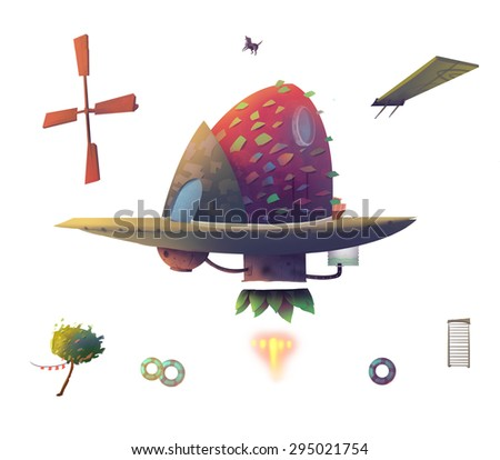Illustration: The steampunk wooden airship taken apart in a white background. Fantastic Realistic Cartoon Style. Wallpaper Background Scene Design. - stock photo