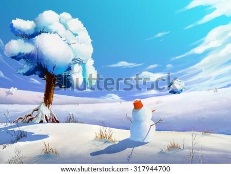 Illustration: The Winter Snow Field with SnowMan. Fantastic Cartoon Style Scene Wallpaper Background Design. - stock photo