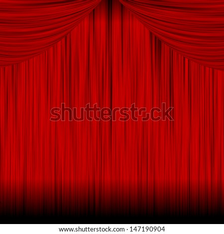 Illustration - Theater red curtain background. - stock photo