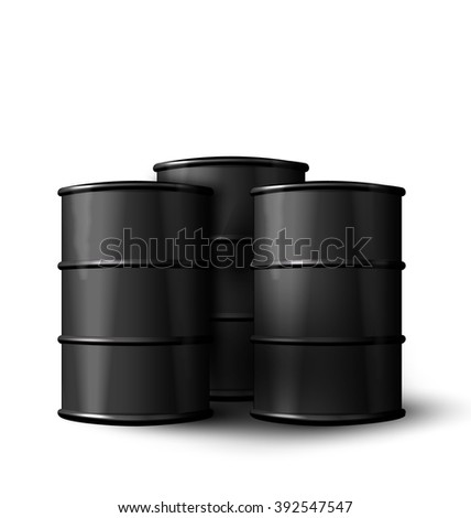 Illustration Three Realistic Black Metal of Oil Barrels Isolated on White Background - raster
