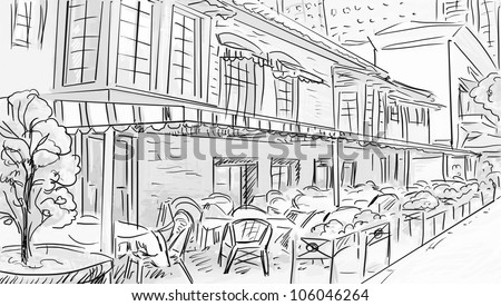 Illustration to the old town - sketch - stock photo