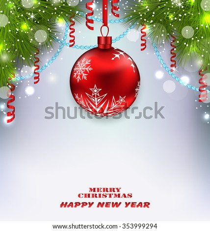 Illustration Traditional Decoration with Fir Branches and Glass Ball for Merry Christmas and Happy New Year - raster - stock photo