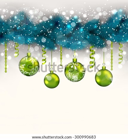 Illustration traditional decoration with fir branches and glass balls for Merry Christmas - raster