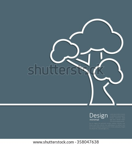 Illustration tree standing alone symbol, design webpage, logo template corporate style layout - raster