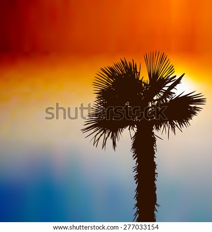 Illustration tropical background with palm tree at sunset - raster - stock photo